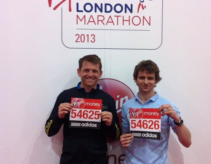 Arron Storey & Ryan Lemmon before the London marathon